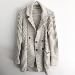 LUCKY BRAND Cozy sweater knit jacket coat cream